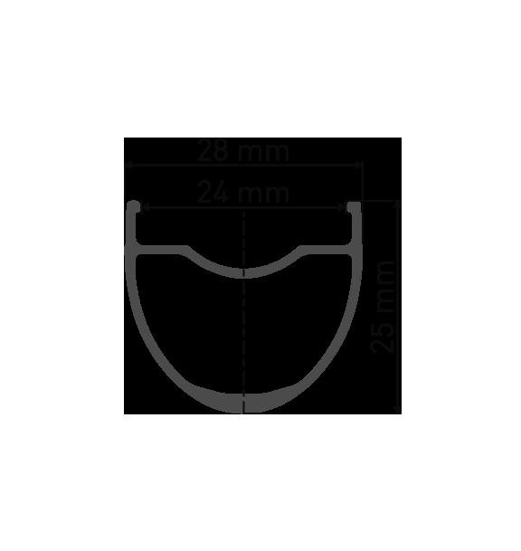"""Przekrój aluminiowej obręczy G540 28"""" / 29"""" / 700C do koła gravel szosa endurance DT Swiss G540 Novatec 791/792 Pillar"""