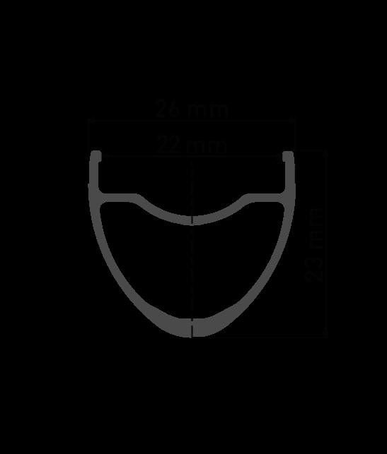 """Przekrój aluminiowej obręczy DT Swiss R500 28"""" / 29"""" / 700C do koła gravel DT Swiss R500 Novatec 791/792 Pillar Kraków Lublin"""