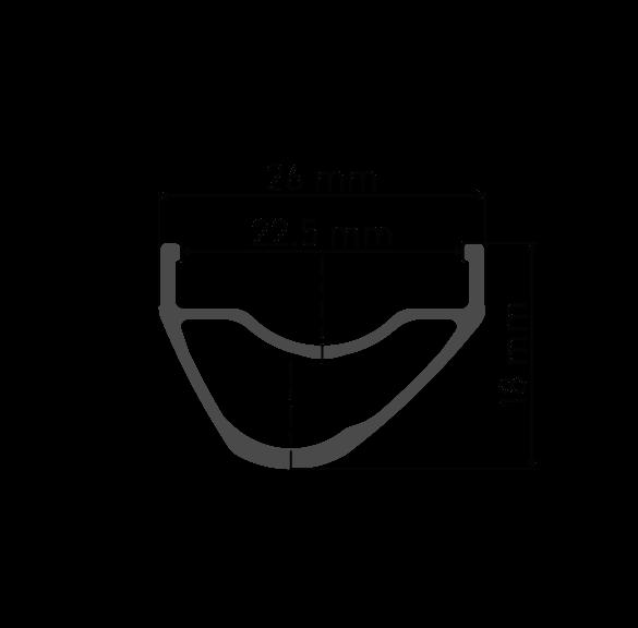"""Przekrój aluminiowej asymetrycznej obręczy DT Swiss XR 361 29"""" / 700C do koła MTB XC DT Swiss Lublin Tarnów Kraków Zakopane"""